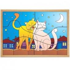 Quebra-cabeças Casal de Gatos - 6 peças